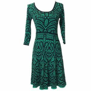 Carmen Marc Valvo Black Green Sweater Midi Dress